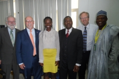 (From right) Professor Abdulrasheed Na'Allah, Vice Chancellor, Kwara State University; Professor Harold van Es, Cornell University; Dr. Ade Somide, President Praxis Atlantis; Ms. Mosunmola Bello, Kwara State Public –Private Partnership Office; Professor Ronnie Coffman, Cornell University; Dr. Brian Henehan, Cornell University – at the first convening of Kwara State Agricultural Modernization Master Plan implementation.